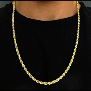 Other - 14k Gold Plated Rope Chain 4mm 22/24 Inches